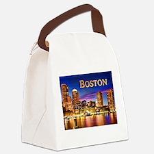 Boston Harbor at Night text BOSTON copy Canvas Lun