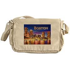 Boston Harbor at Night text BOSTON copy Messenger
