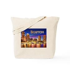 Boston Harbor at Night text BOSTON copy Tote Bag