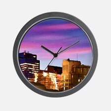 Boston Harbor at Night text BOSTON copy Wall Clock