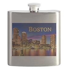 Boston Harbor at Night text BOSTON copy Flask