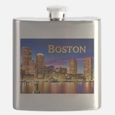 Boston Harbor at Night text BOSTON copy Flask
