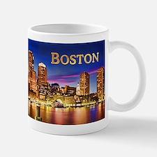 Boston Harbor at Night text BOSTON copy Mugs