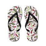 Pretty Pink and Green Paisley Flip Flops