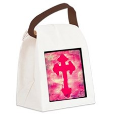 pink cross Canvas Lunch Bag