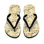 Illustrated Egyptian Pattern Flip Flops