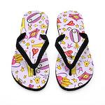 Queen Icons On Lavender Flip Flops