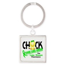 Lyme Disease ChickGoneLime2 Square Keychain