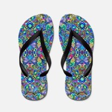 Colorful Abstract Psychedelic Symmetric Flip Flops