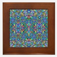 Colorful Abstract Psychedelic Symmetri Framed Tile