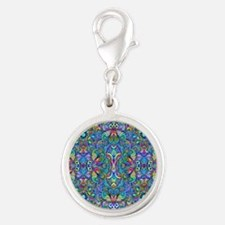 Colorful Abstract Psychedelic  Silver Round Charm