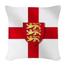 England Three Lions Flag Woven Throw Pillow