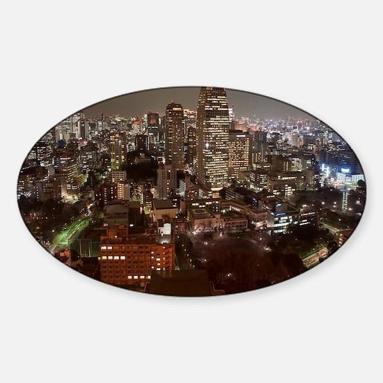 tokyo at night Sticker (Oval)