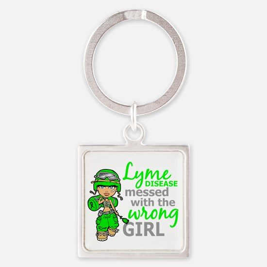 Lyme Disease Combat Girl Square Keychain
