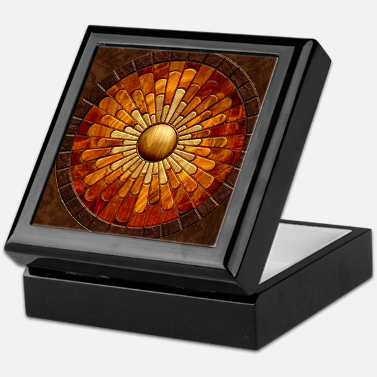 Harvest Moons Marquetry Sunburst Keepsake Box