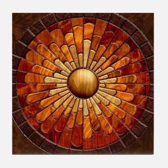 Harvest Moons Marquetry Sunburst Tile Coaster