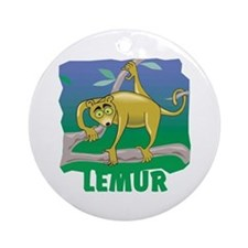 Kid Friendly Lemur Ornament (Round)
