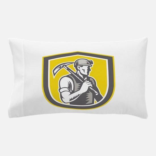Coal Miner Pick Axe Shield Retro Pillow Case