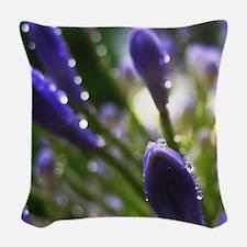 Purple Raindrops Woven Throw Pillow