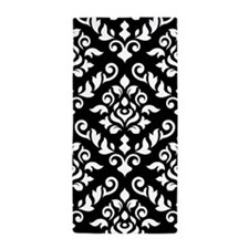 Baroque Damask (large Design) B/w Beach Towel