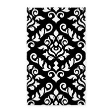 Baroque Damask Design B/w 3'x5' Area Rug
