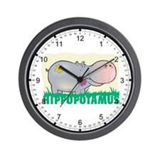 Kid Friendly Hippopotamus Wall Clock