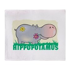 Kid Friendly Hippopotamus Throw Blanket