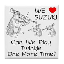 Suzuki Violin Bunnies Tile Coaster