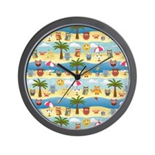 summer owls Wall Clock