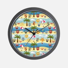 summer owls Wall Clock