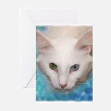 Funny Blue eyed cat Greeting Cards (Pk of 10)