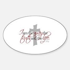 Cute Jesus way truth Sticker (Oval)