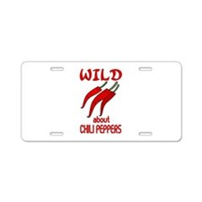 Wild About Chili Peppers Aluminum License Plate
