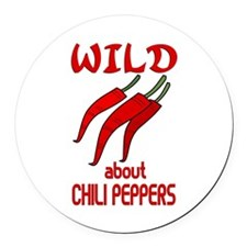 Wild About Chili Peppers Round Car Magnet