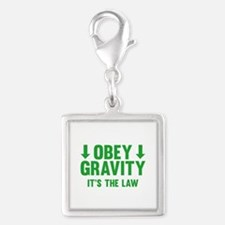 Obey Gravity. It's The Law. Silver Square Charm