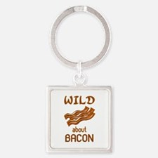 Wild About Bacon Square Keychain