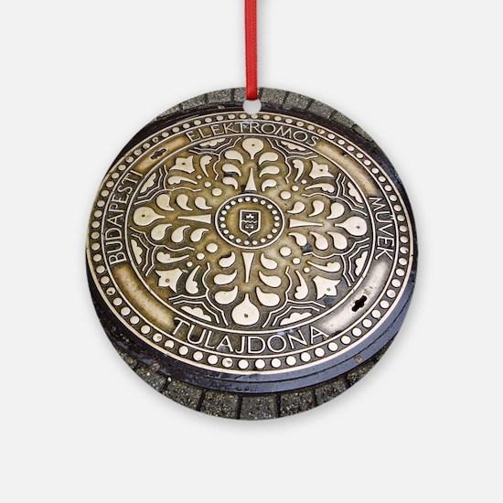 manhole cover,Gully, budapest, Ornament (Round)