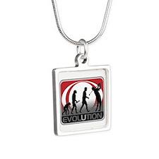 Evolution Golfer Silver Square Necklace