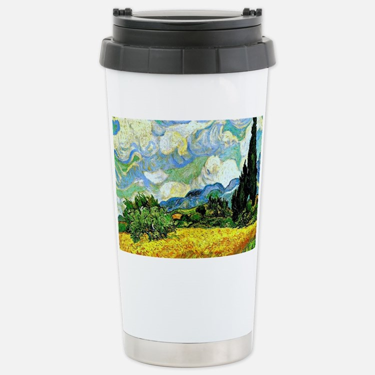 Van Gogh - Wheat Field  Stainless Steel Travel Mug