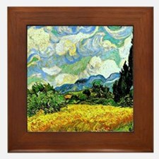 Van Gogh - Wheat Field with Cypresses Framed Tile