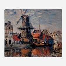 Monet - Windmill on the Onbekende Ca Throw Blanket