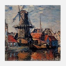 Monet - Windmill on the Onbekende Can Tile Coaster