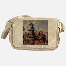 Monet - Windmill on the Onbekende Ca Messenger Bag