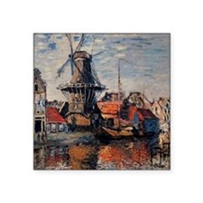 "Monet - Windmill on the Onb Square Sticker 3"" x 3"""