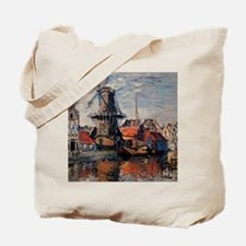 Monet - Windmill on the Onbekende Canal,  Tote Bag