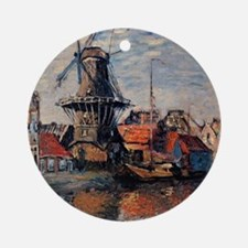 Monet - Windmill on the Onbekende C Round Ornament