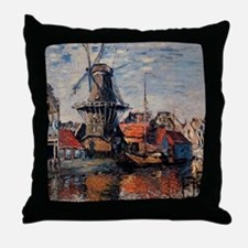 Monet - Windmill on the Onbekende Can Throw Pillow