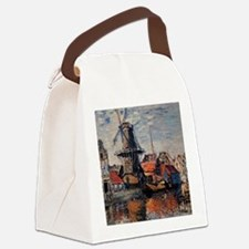 Monet - Windmill on the Onbekende Canvas Lunch Bag