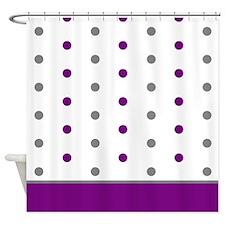 Grey and Purple Polka Dots Shower Curtain