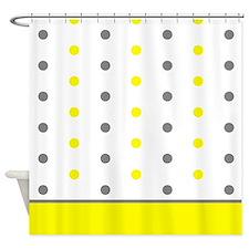 Grey and Yellow Polka Dots Shower Curtain